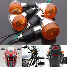 4x Motorcycle Chrome Bullet Front Rear Turn Signal Blinker Indicator Light Amber