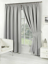 Pair of Silver 90'' x 54'' Supersoft Blackout Thermal Pencil Pleat Curtains