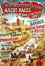 Art Ad Great Western Railway Ascot Races GWR  Train Rail Travel  Poster Print