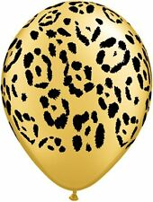 "10 pc 11"" Gold Leopard Safari Animal Latex Balloons Happy Birthday Party Jungle"