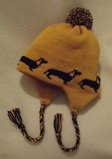 DACHSHUND black dog NEW knitted lined MUSTARD ADULT SIZE TRAPPER EAR FLAP HAT
