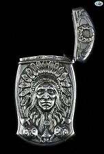 Antique Indian Head Gorham Sterling Silver Repoussé Match Safe B2507, Circa 1900