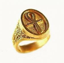 LOOK Ankh Egyptian Silver Ring 24kt Gold Plated Egypt Celtic