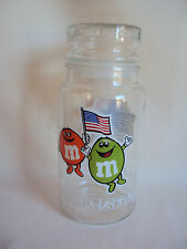 COLLECTIBLE 1980 L.A. OLIMPICS M & M's CLEAR GLASS BOTTLE
