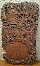 Handcrafted Reddish Brown Rustic Country Style Pottery Wall Art Plaque Horse Sun
