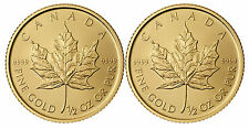 Lot of 2 - 2012 1/2oz Canadian Gold Maple Leaf Coin .9999 Fine BU