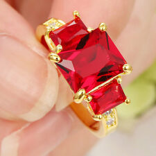 jewelry Red Ruby Engagment Ring 14KT Yellow Gold Filled Wedding Band Size 7.5