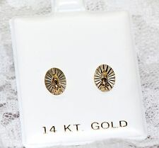 14K Yellow Gold Guadelupe Virgin Mary Screw Back Stud Earrings For Baby & Kids