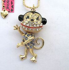 Betsey Johnson brilliant crystal& enamel Cute monkey pendant Necklace#352L Z