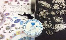 Jewellery Making Kit Silver Findings Instruction Book Threads FREE CHAIN KIT18