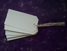 25 WHITE STRUNG TAGS 120MM X 60MM GIFT/PARCEL LABELS WITH MATCHING WHITE WASHERS
