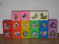 16 Vintage Walt Disney Playskool Shape Sorter Blocks Mickey Donald Baby Toy 1988