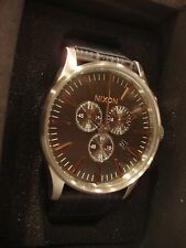 NIXON SENTRY CHRONO LEATHER GRAY GATOR A405 2145 WATCH - BRAND NEW - NWT