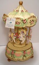 """Vintage Heritage House County Fair Carousel with 4 Horses Plays """"Yesterday"""""""
