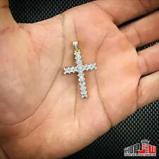 Mens 14k Gold Finish .925 Silver Simulated Diamond Cross Pendant Charm Iced Out