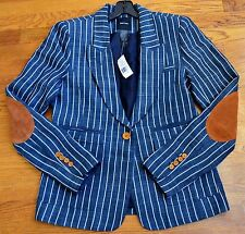New $695 Smythe Les Vestes Leather Elbow Striped Patch Pocket Blazer Jacket 14