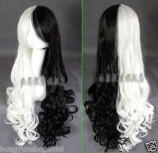 Heat resistant!! Monokuma Long curly black and white color mixture cosplay wig