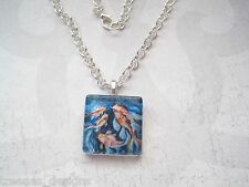 ABSTRACT GOLDFISH SWIMMING Blue Swirl Art Glass Tile SP Chain Necklace Fish