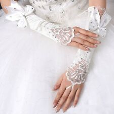 Lady Girl White Fingerless Long Lace Bowknot Satin Gloves Bridal Wedding Party