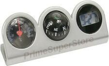 Grey/Black Combo Digital Clock Compass &Thermometer Dash Mount Car/Truck/RV/Boat