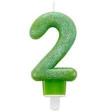 Tarta Cumpleaños Vela - Número 2 Dos - Verde Con Purpurina - Edad 2 - 9900763