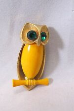 Vintage Woman's Brooch Gold Tone Yellow Enamel Green Eyes Owl Pin