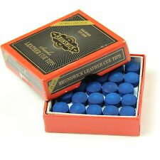 25 X 10mm Leather Blue Diamond Snooker Pool Cue Tips - Free Sandpaper