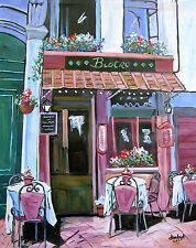 CAFE WINE Original Art PAINTING DAN BYL Contemporary Modern Signed Canvas 4x5 ft