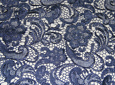 G40 navy guipure frech bridal lace sold by 1/2 yard 120cm wide