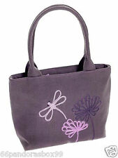 Gorgeous Purple Plum Dragonfly Flower Embroidery Design Grab Bag Linen Fairtrade
