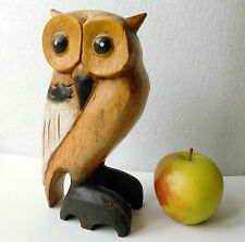 Wooden owl ornament Chunky painted vintage wood figurine 8 inches tall 19 cm
