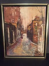 French Impressionist Street Scene Signed Original Oil On Canvas Painting