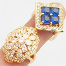 Wholesales 2 Pcs Noble Square Oval Round Cubic Zirconia Gold Plated Rings Size 8
