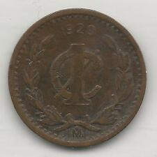 MEXICO, 1920, 1 CENTAVO, BRONZE, KM#415, VERY FINE+