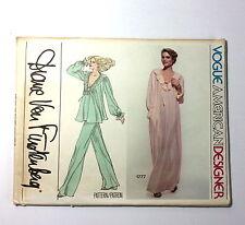 VOGUE American Designer Pattern 1777 Diane Von Furstenberg Pajamas Gown UNCUT