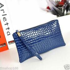 Women Handbag Crocodile Leather Clutch Handbag Messenger Bag Coin Purse Bag Blue