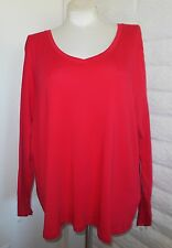 NEW JCP 3X Red V-Neckline Long-Sleeve Soft Cotton Tunic Tee Top  Plus Size