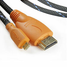 3FT Braided Micro HDMI Cable for BlackBerry PlayBook HTC EVO 4G XT800 Droid X