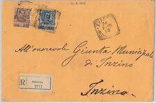 ITALIA REGNO: storia postale - Sass 73 + 74  su BUSTA RACCOMANDATA 1905