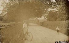 Sedgwick near Kendal. Lady & Bicycle.