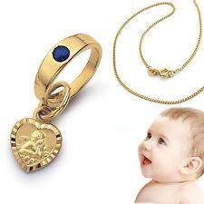 Jungen Safir Engel Taufring Herz Echt Gold 585 mit Kette Silber 925 vergoldet