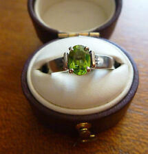 FABULOUS VINTAGE 9CT WHITE GOLD PERIDOT AND DIAMOND RING C 1960'S
