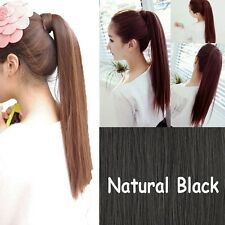 US 100% Real New Clip In human Hair Extension Pony Tail Wrap Around Ponytail j93