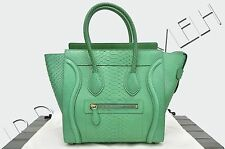 CELINE PARIS Authentic New Micro Luggage Tote Bag In Grass Green Python Leather