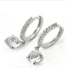 Exquisite 18K White Gold Plated Cubic Zircon Crystal Hoop Earring Free Shipping