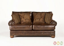 Ashley Antique Brown Leather Loveseat w/ Rolled Arms, Nailheads & Accent Pillows
