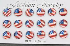 9 pair American Flag earrings USA round stud post Red White Blue Stars Stripes