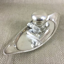 ANTIQUE INKWELL INKSTAND INK POT WELL TRAY SILVER PLATED CUT GLASS