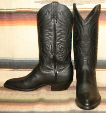 Vintage Sanders Black Leather Cowboy Boots 8.5 D Womens 10 M New In Box