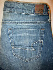 American Eagle True Boot Stretch Womens Blue Jeans Sz 4 R x 32 New distressed